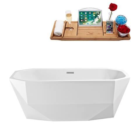 "63"" Streamline N-620-63FSWH-FM Soaking Freestanding Tub and Tray With Internal Drain"
