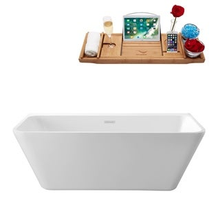 Streamline White 63-inch Wall-adjacent Apron Tub with Internal Drain