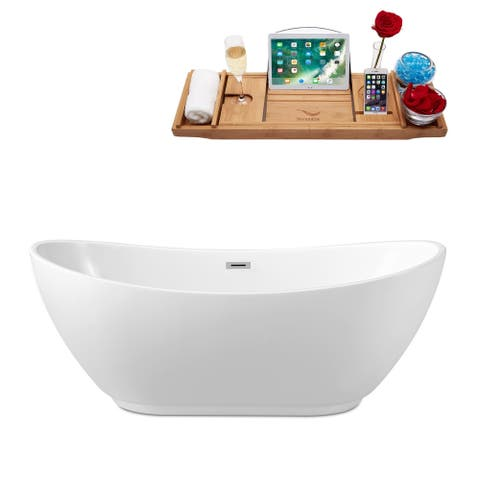"62"" Streamline N-580-62FSWH-FM Soaking Freestanding Tub and Tray With Internal Drain"