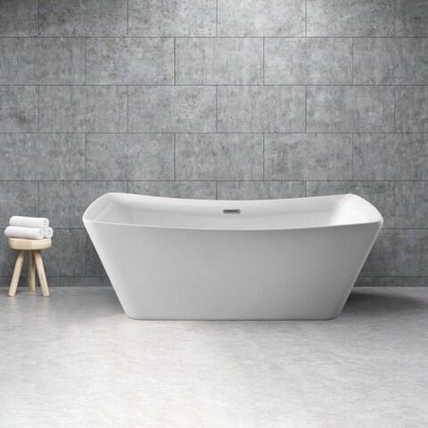 Streamline White 62-inch Soaking Free Standing Tub with Internal Drain