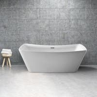Streamline White 62-inch Soaking Free Standing Tub with Internal Drain