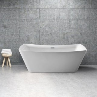 Streamline White 62 Inch Soaking Free Standing Tub With Internal Drain