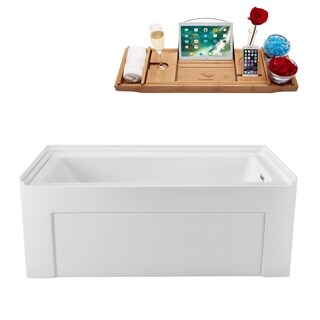 Streamline White 60-inch Alcove Apron Soaking Tub with Internal Drain