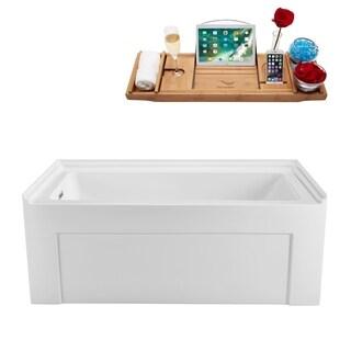 Streamline White 60-inch Soaking Alcove Apron Tub with Internal Drain