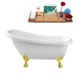 Streamline White 61-inch Soaking Clawfoot Tub with Internal Drain
