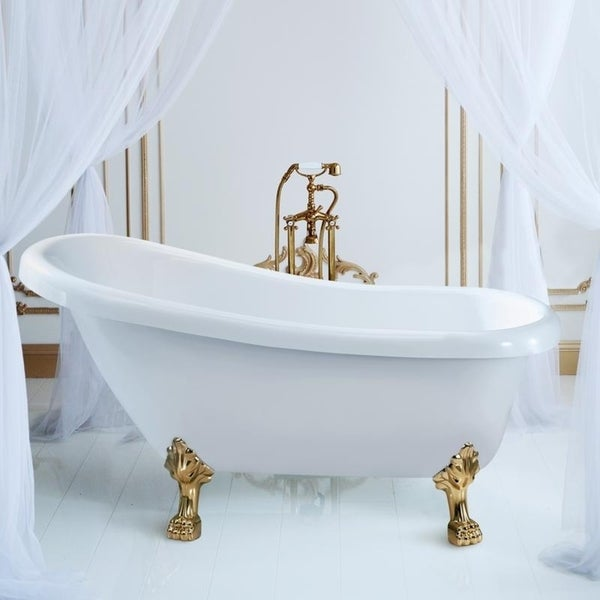 Shop Streamline White 61-inch Soaking Clawfoot Tub with Internal ...