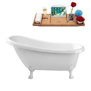 Streamline White 61-inch Clawfoot Soaking Tub with Internal Drain