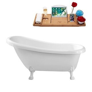 Streamline White 61-inch Clawfoot Soaking Tub with Internal Drain