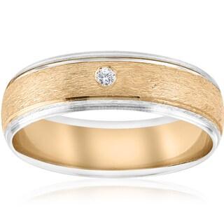 14K White & Yellow Gold Mens Diamond Solitaire Bezel Brushed Wedding Ring (I-J,I2-I3)