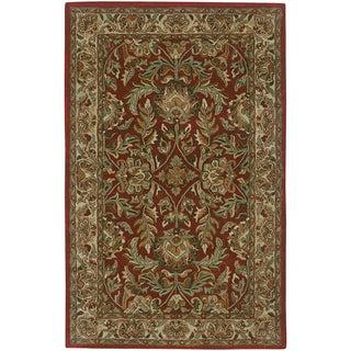 Hand-tufted Elegance Burgundy Floral Border New Zealand Wool Rug