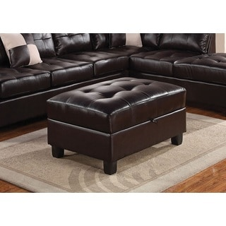 Mandy Espresso Leather Ottoman with Storage