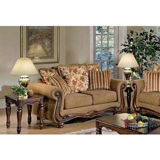 Olysseus Traditional Brown Fabric and Wood Loveseat with 5 Pillows