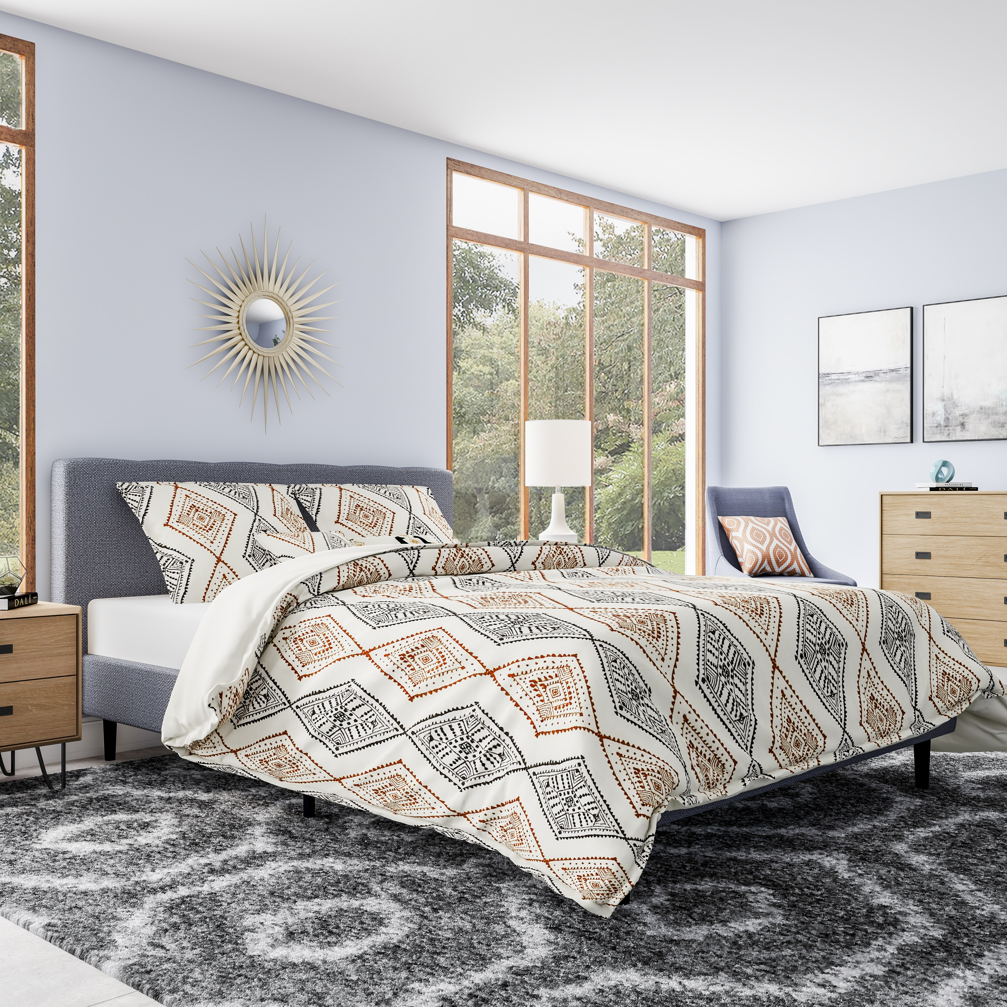 com bedding bath style overstock comforter product blue set bed reversible triangles mini madison
