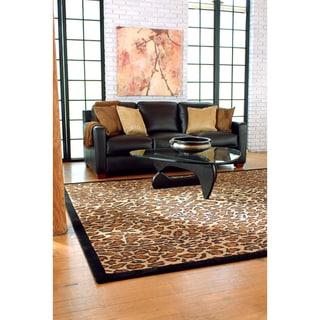 Hand-tufted Brown Leopard Animal Print Safari Wool Rug (9' x 13')