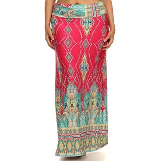 Women's Plus Size Pink Geometric Maxi Skirt