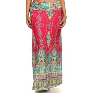 Women's Plus Size Pink Geometric Maxi Skirt