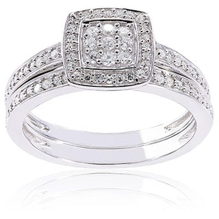 Sterling Silver 1/4ct TDW Diamond Grid Square Halo Bridal Ring Set by Miadora