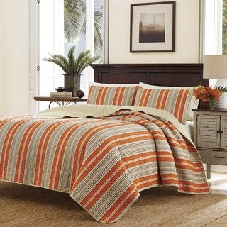 Tommy Bahama Tommy Stripe Red Quilt Set