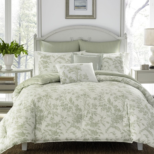 Shop Laura Ashley Natalie Green Comforter Bonus Set On