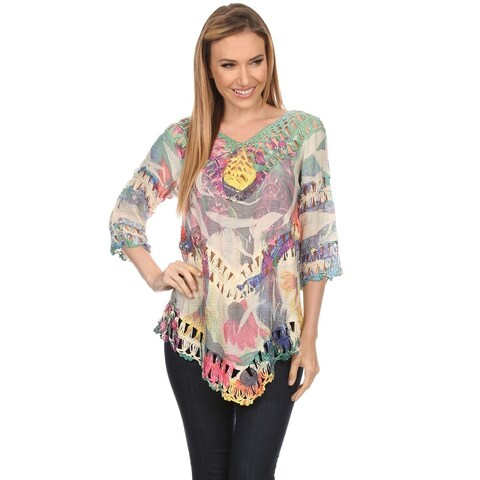 High Secret Women's Multicolor Crochet-Trim 3/4 Sleeve Top