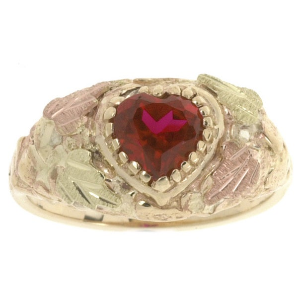 Black Hills Gold and Created Ruby Heart Ring