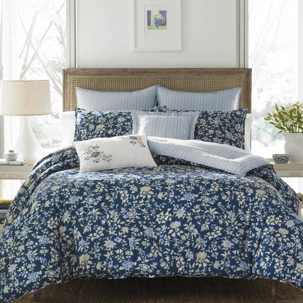 Laura Ashley Stella Dark Blue Comforter Bonus Set