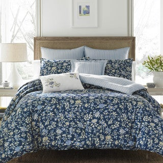 Laura Ashley Stella Dark Blue Comforter Bonus Set