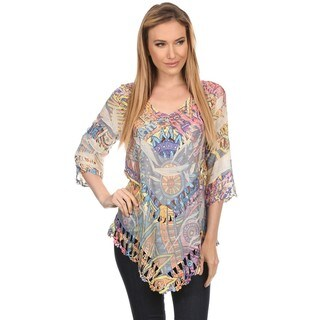 High Secret Women's Multicolor Crochet-Trim 3/4 Sleeve Top