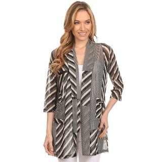 High Secret Women's Black MeshStriped 3/4 Sleeves Open Front Cardigan