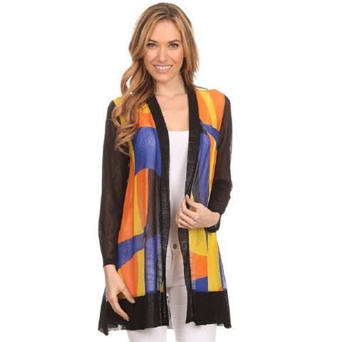 Women's Multicolor Mesh Bold Print Loose Fit Open Front Cardigan