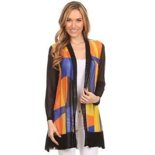 High Secret Women's Multicolor Mesh Bold Print Loose Fit Open Front Cardigan