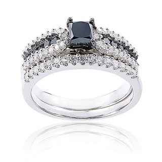 Sterling Silver 1ct TDW Black and White Diamond Princess-Cut Bridal Ring Setby Miadora