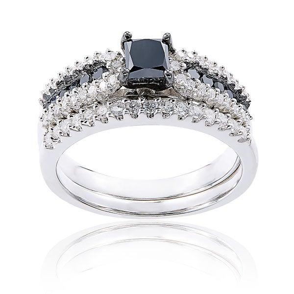 Sterling Silver 1ct TDW Black and White Diamond Princess-Cut Bridal Ring Setby Miadora