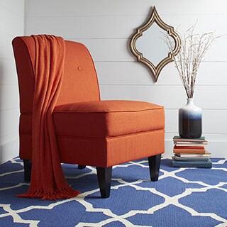 Portfolio Engle Orange Linen Armless Chair