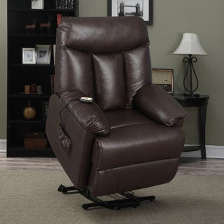ProLounger Lya Brown Renu Leather Power Recline and Lift Wall Hugger Chair