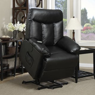ProLounger Lya Black Leather Lift Power Recline Wall Hugger Chair