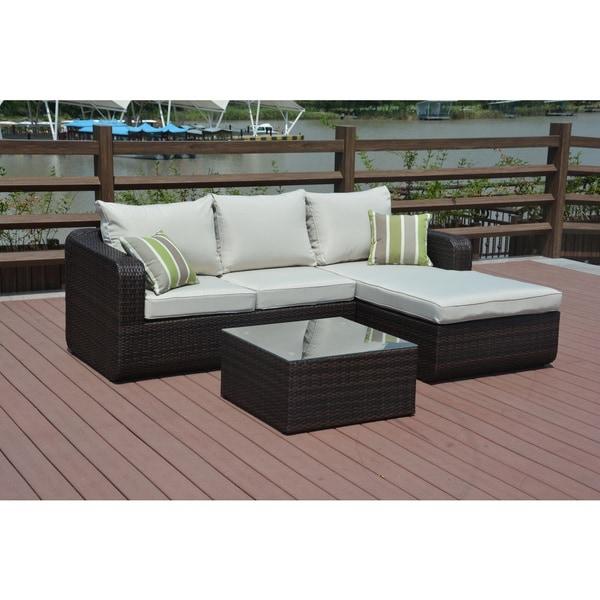 Shop Luies 3-piece All-weather Wicker Patio Conversation ... on Safavieh Outdoor Living Granton 5 Pc Living Set id=62831