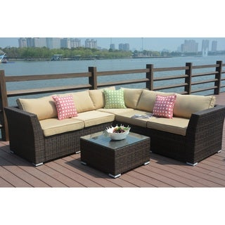 Puerta Outdoor 4 Piece Wicker V Shaped Sectional Sofa Set With Cushions