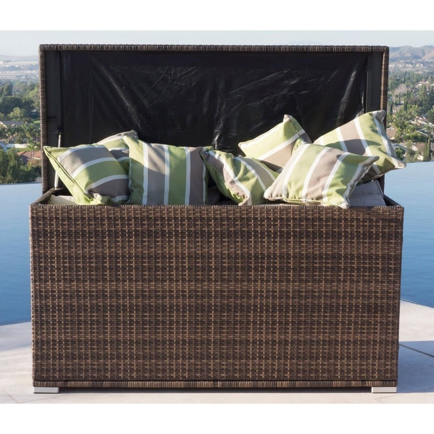 All Weather Crosson Wicker/ Rattan Outdoor Deck Box (Brow...