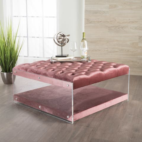 Massimo Tufted Velvet Square Ottoman by Christopher Knight Home