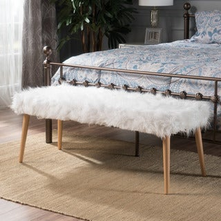 Magnus Mid-Century Furry Fabric Ottoman Bench by Christopher Knight Home
