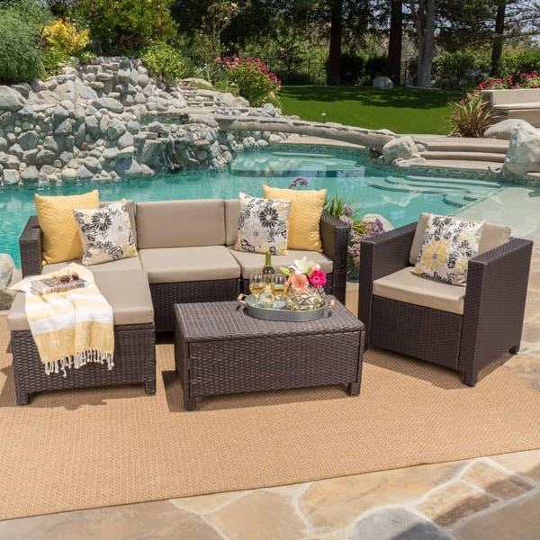 Puerta Outdoor 6 Piece Wicker L Shaped Sectional Sofa Set With Cushions By  Christopher