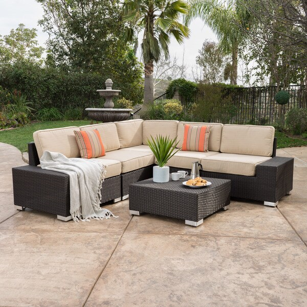 Marbella Outdoor 6 Piece Wicker Sectional Sofa Set With Sunbrella Cushions By Christopher Knight Home