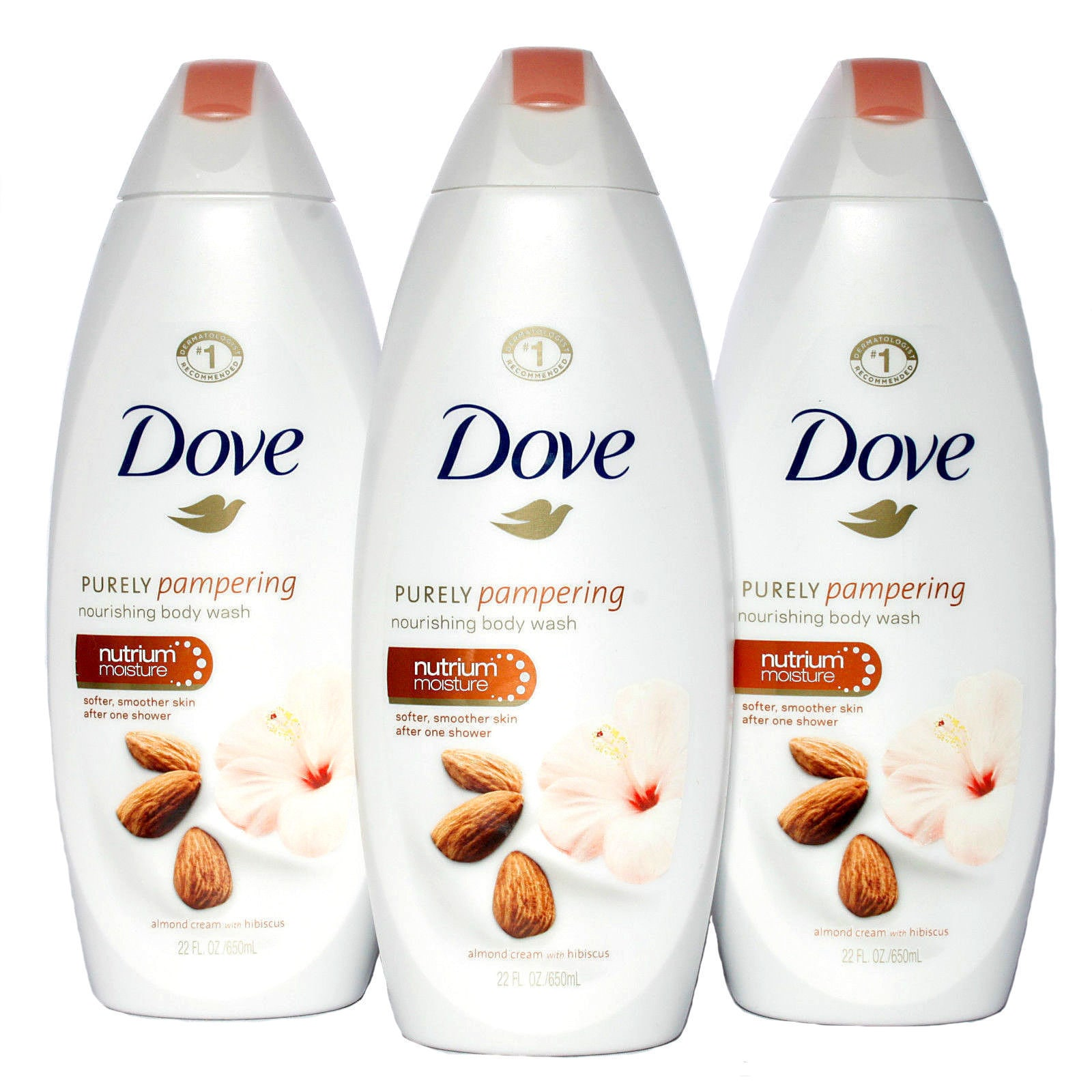Shop Dove Purely Pampering 22 Ounce Almond Cream With Hibiscus Body Wash Pack Of 3 Overstock 15789730