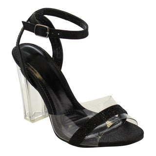 Beston EG72 Women's Rhinestone High Lucite Block Heel Ankle Strap Dress Sandals