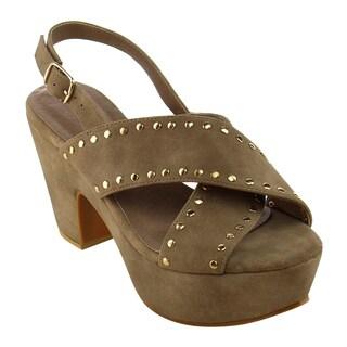 Beston FI09 Women's Studded Criss Cross Slingback Platform Sandals