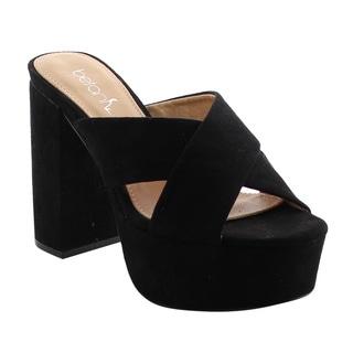Beston FH60 Women's Criss Cross Slip On Platform Block Heel Sandals