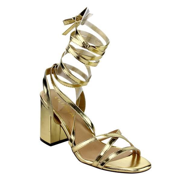 b3cbf95e Shop Beston EG65 Women's Criss Cross Strappy Leg Wrap Chunky Heel ...