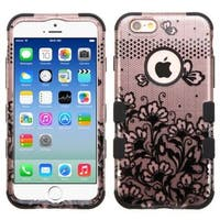 Insten Black Lace Flowers Tuff Hard PC/ Silicone Dual Layer Hybrid Rubberized Matte Case Cover For Apple iPhone 6/ 6s