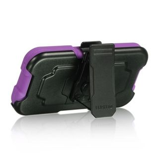 Insten Hard PC/ Silicone Dual Layer Hybrid Case Cover with Holster For Apple iPhone 5/ 5S